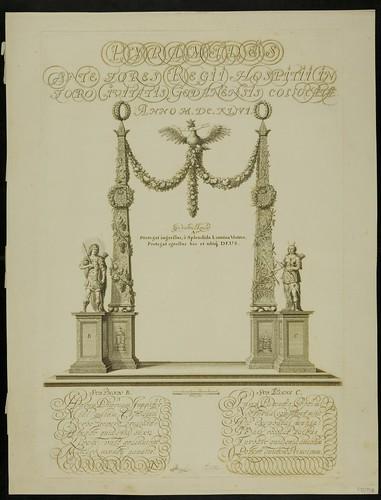 Jeremiasz Falck -  Pyramides ante fores Regii Hospitii in fordo Civitatis Gedanensis Collocatae 1646