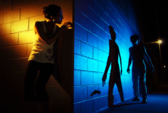 the corner (timpweb) Tags: blue light orange woman man color wall backlight corner dark crazy cool nikon wide sb600 psycho stalker block d200 scared gel sb800 strobist lighting102 workthatcto strobistonline