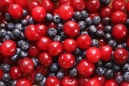 Blueberries and cherries
