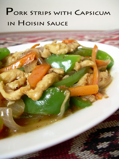 pork strips capsicum hoisin sauce