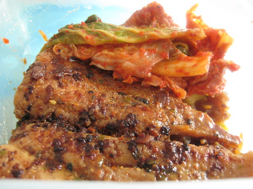 Pan Fried Fish with Kimchi