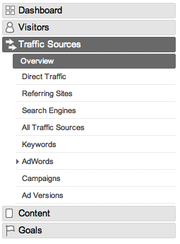 GA nav bar, traffic sources