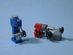 Lathe & Mill (psiaki) Tags: mill lego metalworking lathe machineshop moc tablescrap