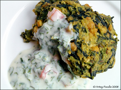 Pea Vine Patties w/ yogurt sauce
