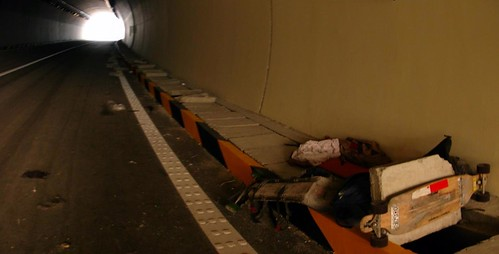 Sleepin in expressway tunnel east of Xian, Shaanxi Province, China