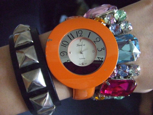 Stud Bracelet, Hot Topic; Watch, thrift store find; Faux Gemstone Bracelet, Kohls