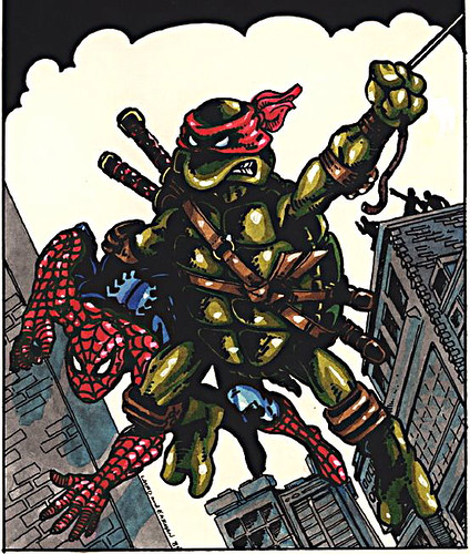 """TMNT"" Amazing Fantasy #15 art by Kevin Eastman & Peter Laird ..original v. sm  (( 1985 )) [[..courtesy P.Laird ]]"