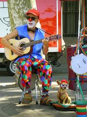 Artisti di STrambla (Paolo Signorini) Tags: barcelona dog colors cane artist guitar colori barcellona spagna chitarra rambla artistidistrada paolosignorini srtista sfidephotoamatori cataglogna