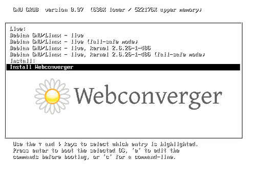 Install Webconverger from Grub boot menu