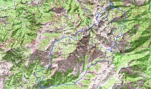 Carte d'un trek autour du Renoso (parcours Dominique Treillard en 07/2008)