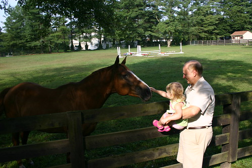 Petting the horse at Opa's house
