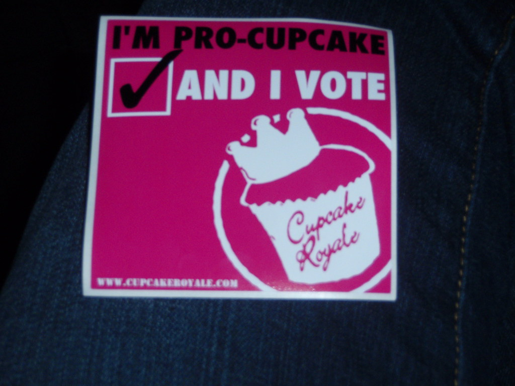 """I'm Pro-Cupcake and I Vote"" sticker"