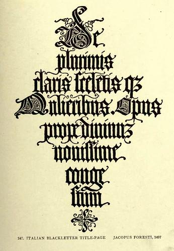 11- Letra gotica italiana en negrita para pagina del titulo de Jacopus Foresti 1497