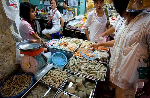 Buying meat-free..meat during the annual Vegetarian Festival, Bangkok