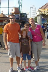 Dave, Maddie, Nate and Cathie at Cedar Point