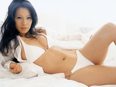 Lucy Liu in white bikini