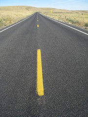 The long road ahead (tiffs pictures) Tags: road lines yellow stripes roadtrips vanishingpoints easternwashington flickrchallengegroup flickrchallengewinner easternwatripendofsummer