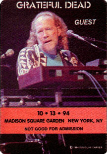 Grateful Dead backstage pass - 10/13/94 Madison Square Garden, New York City