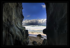 Peek-a-boo - Cape Paterson (Ric0p - Lost the Flickr spark) Tags: ocean sea monster rocks australia cave southgippsland capepaterson aplusphoto colourartaward platinumheartaward nikond300