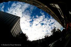 Las figuras del cielo II (Berts @idar) Tags: fisheye zaragoza cielo nubes tarde curvas peleng ojodepez espaa peleng8mmfisheye canoneos400ddigital ojosajenos ojosajenoscom