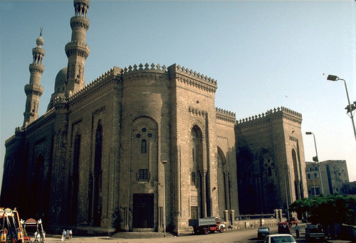 The Mosque of al-Rifai in Cairo: Side view of the Mosque from the center of the Maydan of Salah al-Din showing both its southeastern and southwestern facades