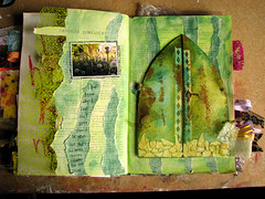 Green seven (Pretty Arty) Tags: colors altered buzz book paint mixedmedia bloom