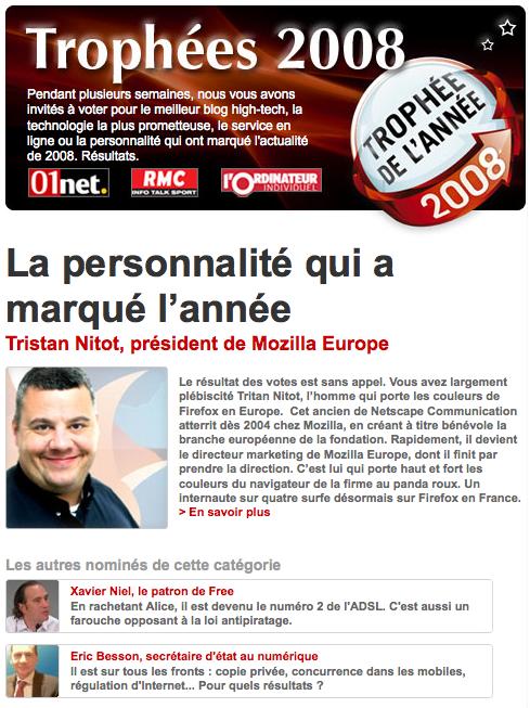 copie d'écran de 01Net.com sur la personnalité de l'année 2008