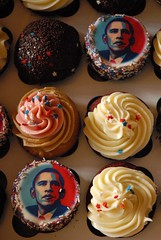 Obama CELEBRATION cakes (Eden Weaver) Tags: seattle cupcakes us back election day woo victory give fairey trophy vote patriotism 2008 something celebrate bring obama wallingford breaker shepard finally slog nov4