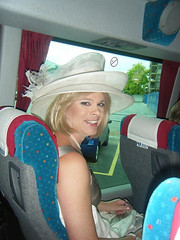On the way to Royal Ascot (zoe louise snaggle) Tags: wedding horse bus sexy beautiful smile hat happy tv eyes dress princess dream silk royal ascot racing pearls boudoir 2008 racecourse whistles sylish
