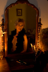 Mirror, Mirror (dart5150) Tags: woman selfportrait me girl beautiful look mirror cupcakes expression sensual boa candlelight alluring over50 artofimages