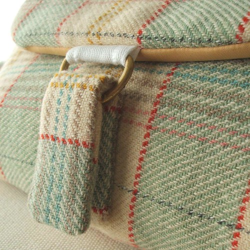 pistachio and oatmeal pure wool plaid clutch