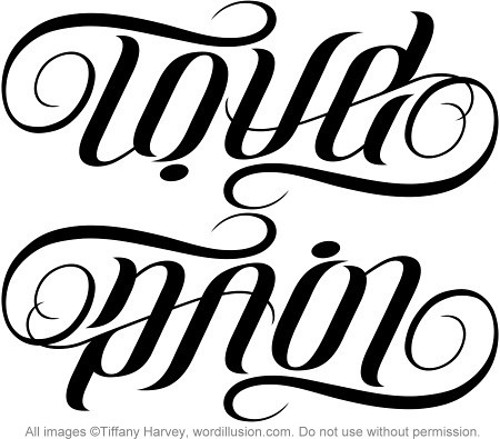 "A custom ambigram of the words ""Love"" & ""Pain"", created for a tattoo design."