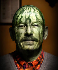 """straaange days..."" (urline) Tags: light shadow portrait green smile face fruit beard 50mm licht healthy funny watermelon health portraiture lustig grn lachen frucht schatten vadder melonhead gesundheit wassermelone gesund melonman urline florianoehrlein"