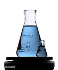 Desaturated Blue Flask and Small Flask on Balance (Elemental Imaging) Tags: blue red green lab flask experimental experiment equipment research chemistry laboratory physics technician balance labcoat measure development beaker sci scientist measuring volume measurement glassware biologist physicist molecularbiology graduatedcylinder microbiologist erlenmeyer sciencechicago elementalimaging elementalimagingexperimenter molecularbiologist