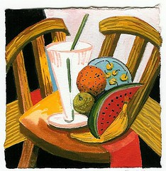 still life with two chairs and fruit (siptakg) Tags: stilllife fruit painting chairs drink gouache cubist watermellon siptak