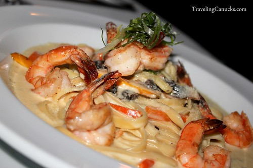 Pasta Primavera Alfredo with Fresh Grilled Prawns