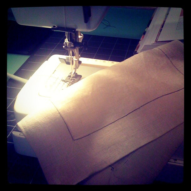 sewing on my mom's Elna
