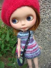 Knitting dress for blythe