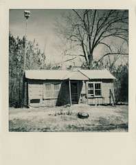 dreamin' about the holiday inn (Jeff Rinehart  (almost back in action)) Tags: blackandwhite bw house abandoned film home monochrome rural mississippi scanner country southern scanned toned tinted polaroid600 jeffrinehart epsonv500