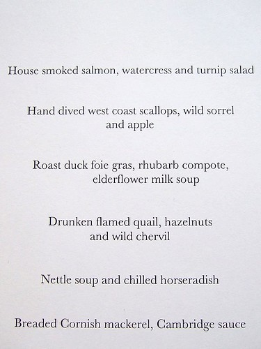 Launceston Place menu 1