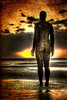 Out From The Deep (BarneyF) Tags: sunset sea texture beach water statue hdr anthonygormley anotherplace crosbybeach gapc 5exp superaplus aplusphoto llovemypics