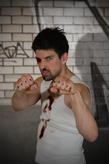 Beta Wolf (Prozac74) Tags: portrait strange tattoo manipulated fun fight wolf humor injury martialarts beta fist winner second boxing ufc vignette blackeye shiner nosebleed tylerdurden canonef50mmf14usm bareknuckle canoneos30d prozac74 activeassignmentweekly activeassignmentmonthly conceptphoto tellajoke
