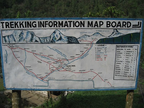Typical trekking map along the route (in villages)