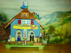 Weather House (Rainbow Mermaid) Tags: house color colour cute art dutch weather glitter toy weird miniature crazy colorful doll european gorilla handmade assemblage unique ooak hellokitty painted cottage craft kitsch retro lizard cupcake tiny chalet bluebird colourful glittery dalmatian whimsical dollhouse toadstools alteredart weatherhouse rainbowmermaid