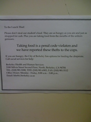 Taking food is a penal code violation and we have reported these thefts to the cops.