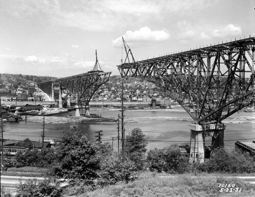 Aurora Bridge under construction, 1931