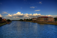 """Podgrze"" (mattrulez) Tags: city bridge sky panorama clouds river landscape nikon raw riverside krakow riverbank wisla d300 krakoff podgorze mywinners aplusphoto platinumheartaward"