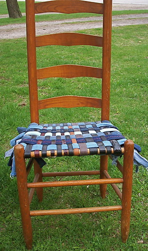 Re-Purposed Denim/leather belt chair