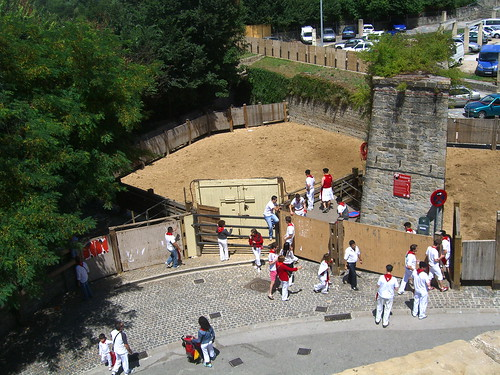 The bull pen for the Pamplona bull runs