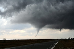 Cold-core tornado with mini supercell (Stacked Plates) Tags: tornado funnel funnelcloud supercell stormchaser coldcore